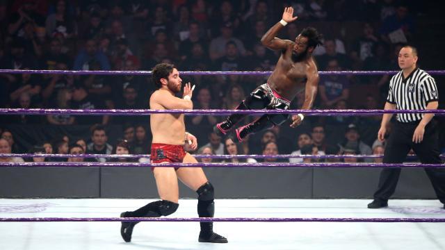 WWE 205 live 14th february 2017, -reviewed in under 15 words, Image of rich swan ,savagely drop kicking ,the main man Noam Dar, lover of alisha faaaaaaaawks, The special wan