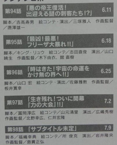 dragon ball super episode 94 to 98 episode titles leaks rumors translated from scans by ken xyro scanned from magazine