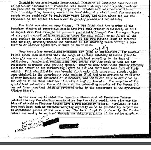 GERMAN SCIENTIST'S ARTICLE ON 'FLYING DISCS' (f) - Hidden CIA UFO files