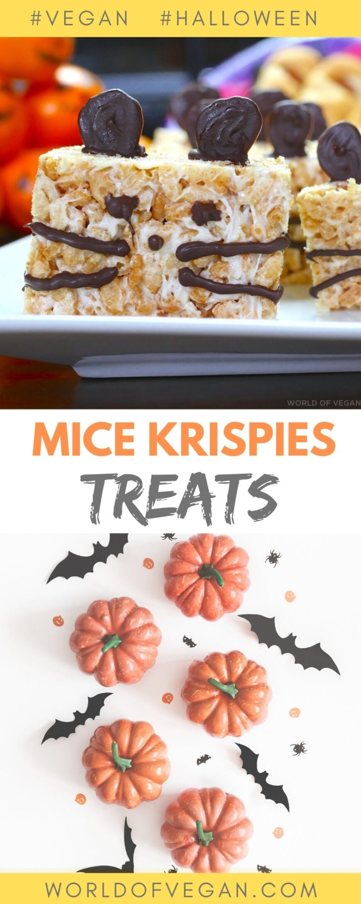 Halloween Mice Krispies Vegan Treats | World of Vegan | #vegan #halloween #treats #rice #krispies #mice #worldofvegan