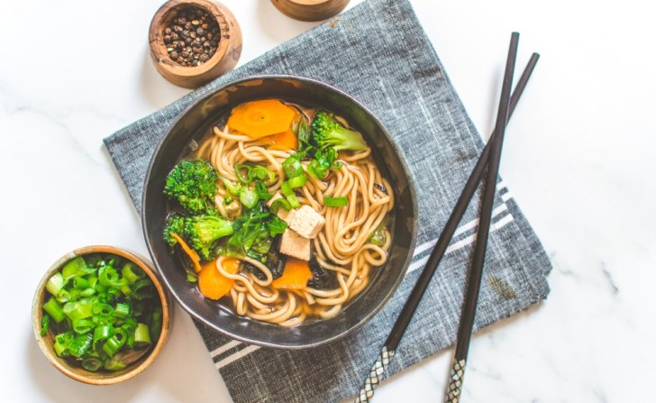 Miso Noodle Soup Bowl with Chop Sticks, Salt and Pepper on the Side