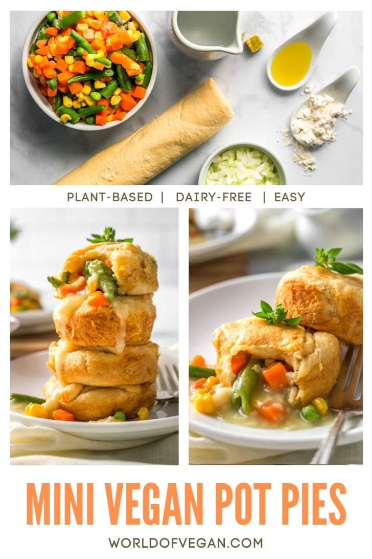 How to Make Vegan Pot Pie Step by Step Photos of Ingredients and Plated Pot Pies With Filling Spilling Out