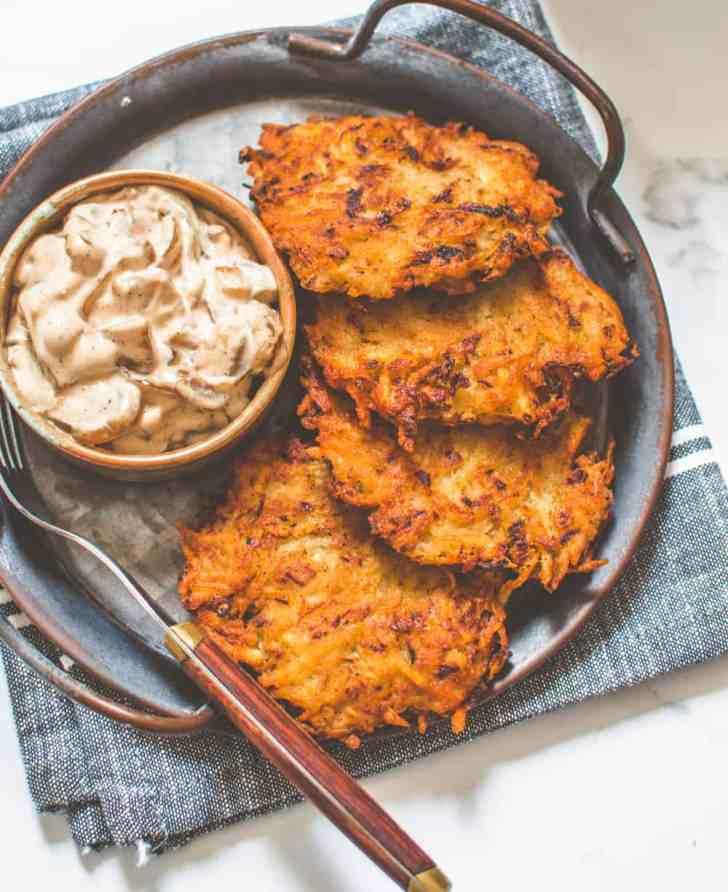 Easy Vegan Latkes with Caramelised Onion Dip