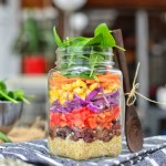 Rainbow Salad in a Jar   Easy Lunch On The Go   WorldofVegan.com   #salad #lunch #vegan #masonjar #zerowaste #quinoa #budget