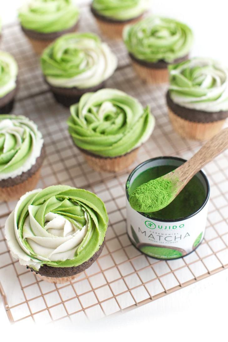 Vegan Matcha Cupcakes | WorldofVegan.com | #vegan #cupcakes #matcha #dessert #worldofvegan #dairyfree