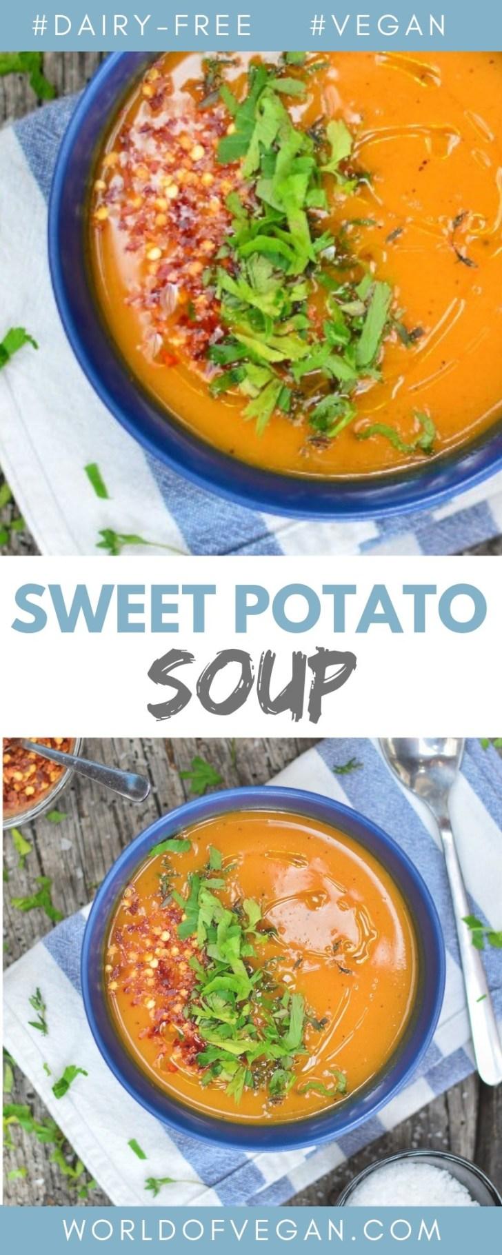 One-Pot Sweet Potato Soup   Easy Vegan Dinner Recipe   World of Vegan   #sweetpotato #soup #healthy #easy #onepot #worldofvegan