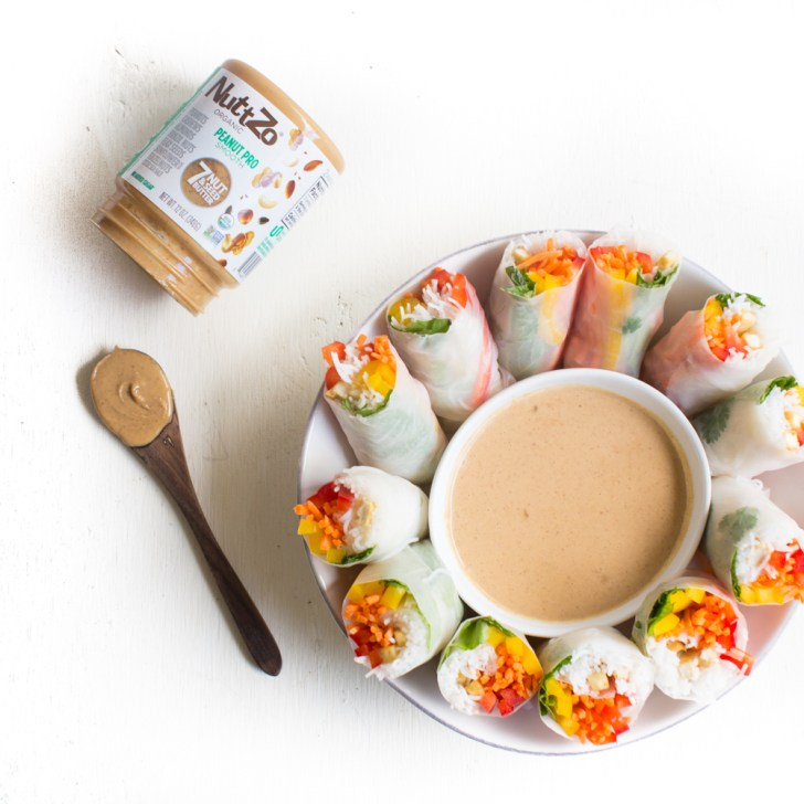 Rainbow Spring Rolls With Peanut Dipping Sauce Made With NuttZo | WorldofVegan.com #vegan #healthy #recipe #worldofvegan