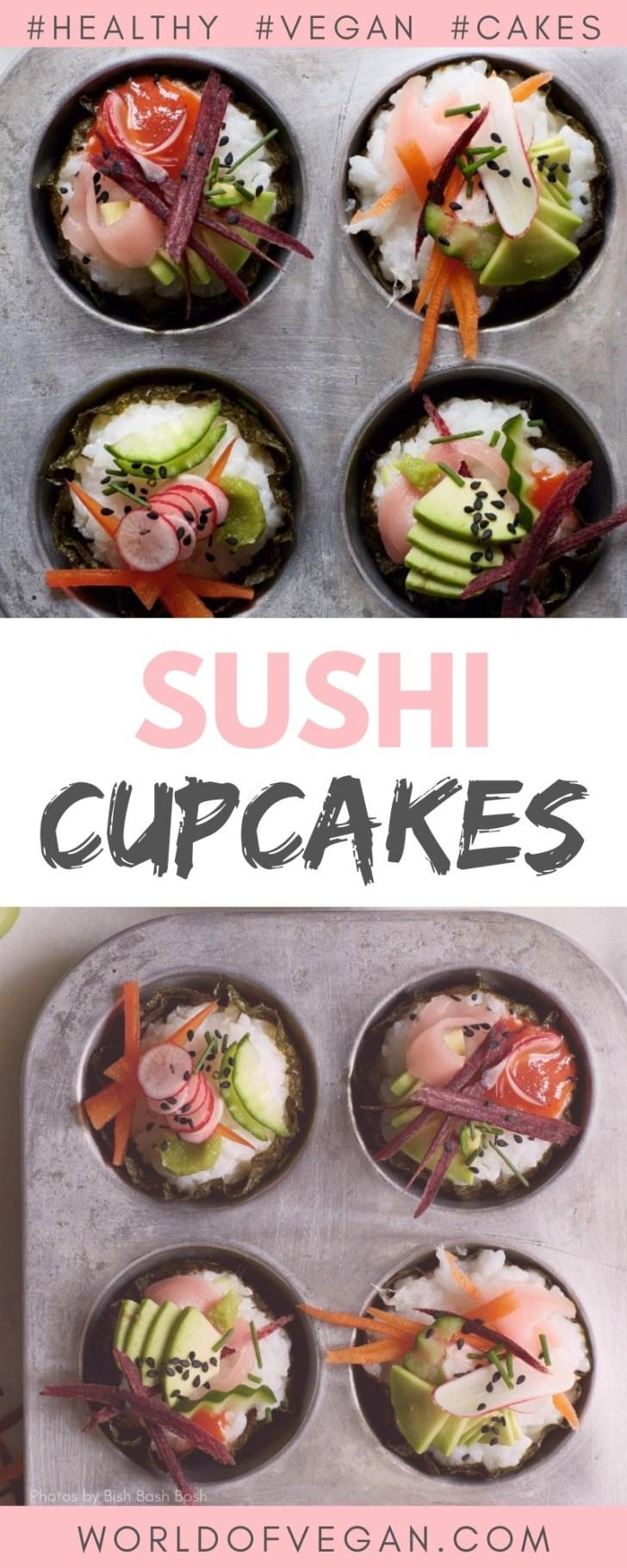 Easy Vegan Sushi Cupcakes   World of Vegan   #sushi #vegan #cupcakes #cakes #worldofvegan #appetizer #party