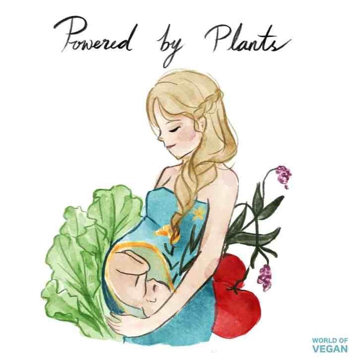 Vegan Pregnancy Art Illustration   Plant Based   WorldofVegan.com