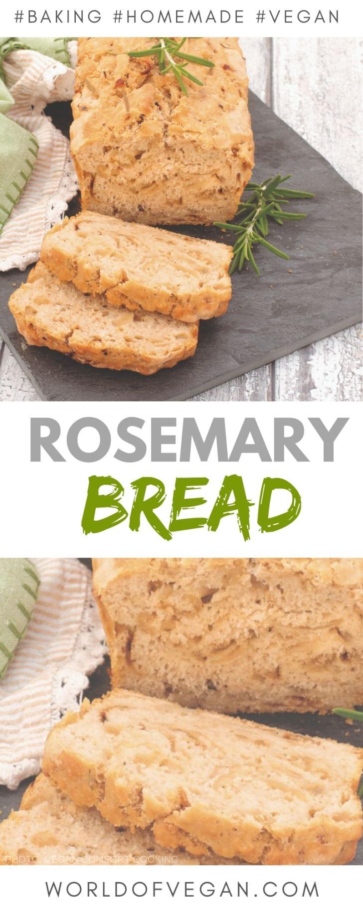 Rosemary Beer Bread Recipe   Homemade Bread   World of Vegan   #bread #rosemary #beer #homemade #baking #vegan #worldofvegan