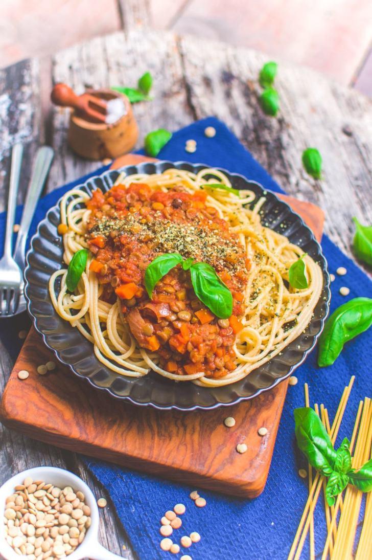 Vegan Lentil Bolognese Pasta Recipe   Protein-Packed Sauce   World of Vegan   #bolognese #vegan #sauce #pasta #protein #italian #dinner #worldofvegan
