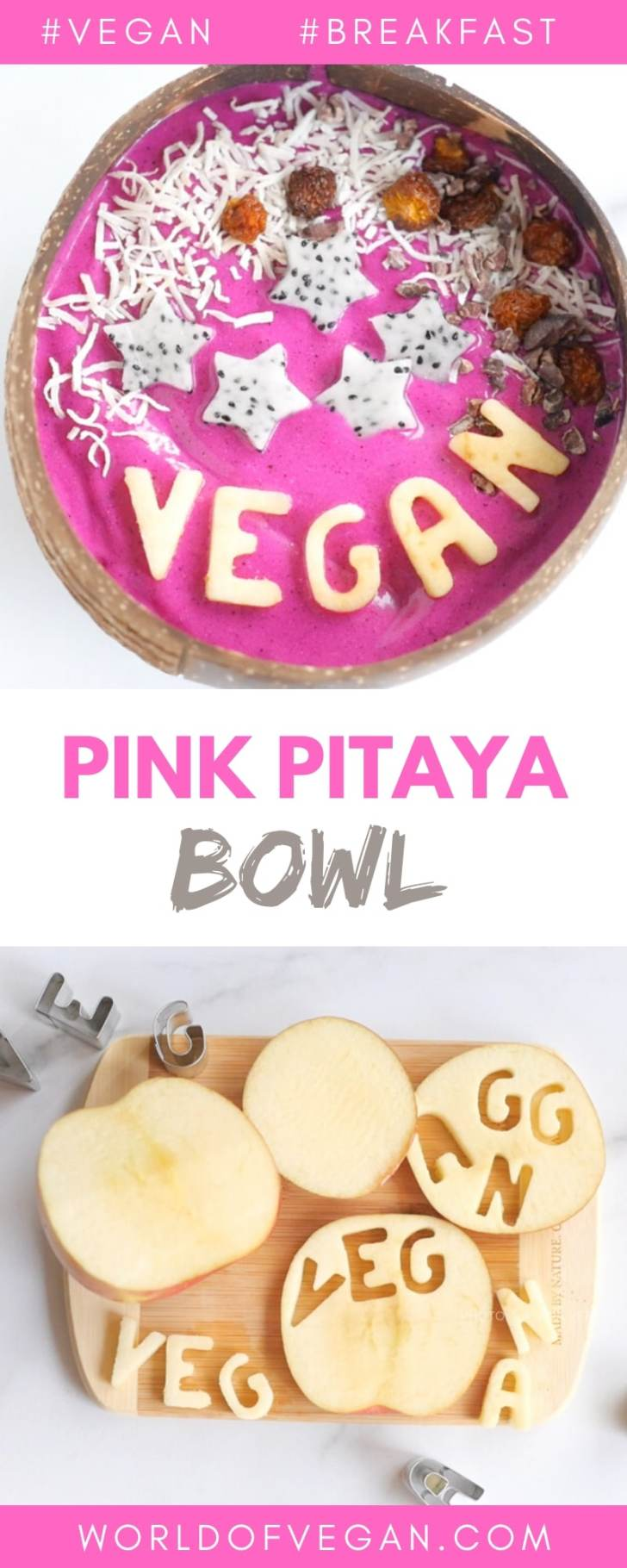 Pink Pitaya Smoothie Bowl | Healthy Breakfast | World of Vegan #breakfast #dragonfruit #vegan #healthy