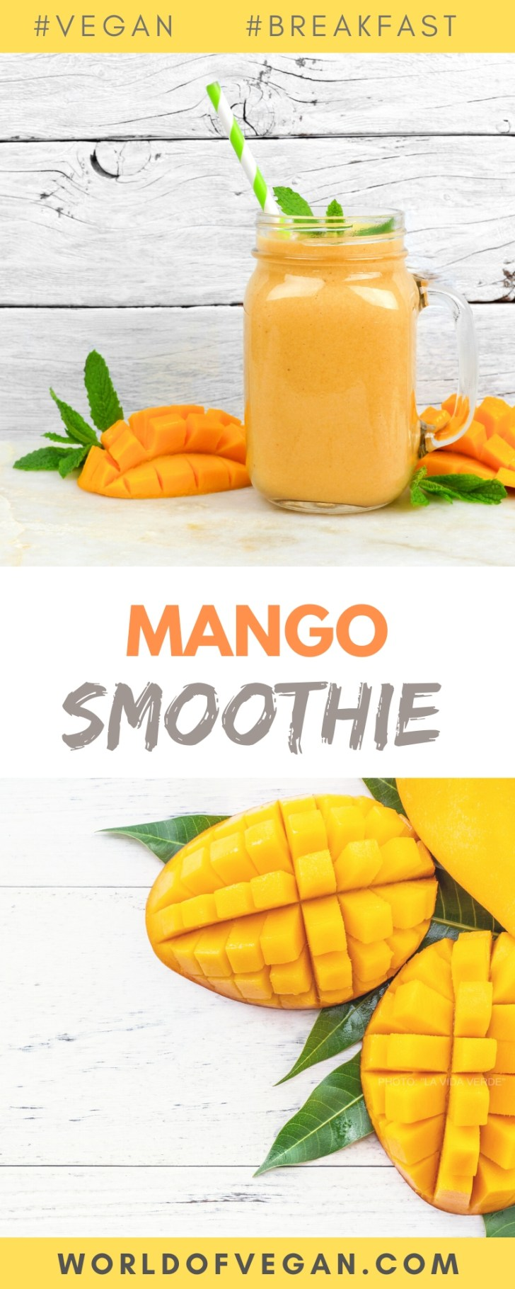 Tropical Mango Smoothie   World of Vegan   #mango #banana #smoothie #breakfast #vegan #worldofvegan