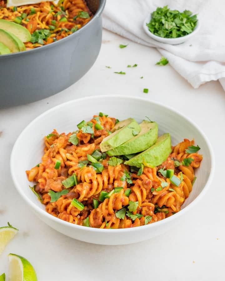 Vegan Enchilada Pasta Dish Served Up for Dinner