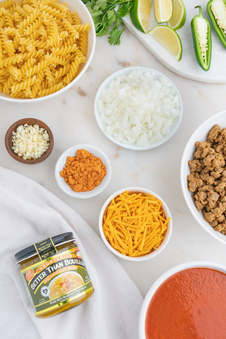 Vegan Enchilada Pasta Ingredients Photo With Better Than Bouillon