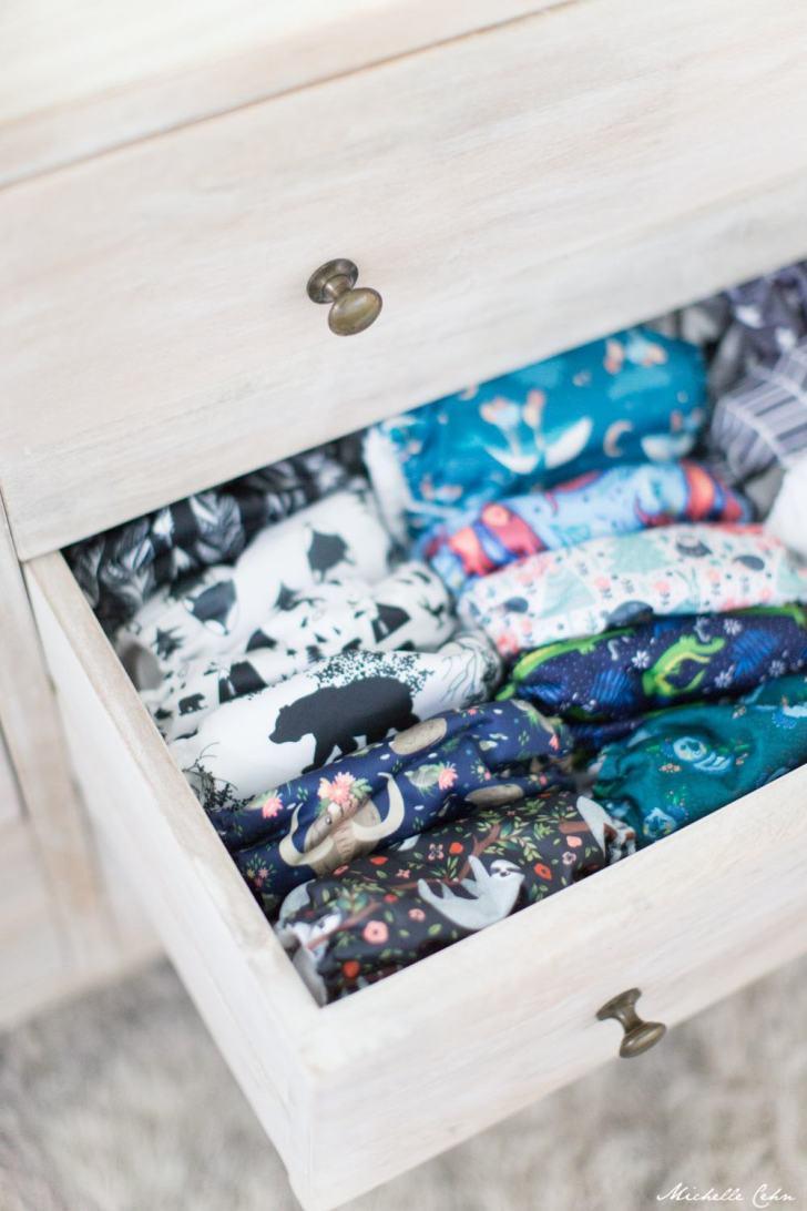 Vegan Cloth Diaper Stash Assembled In A Drawer