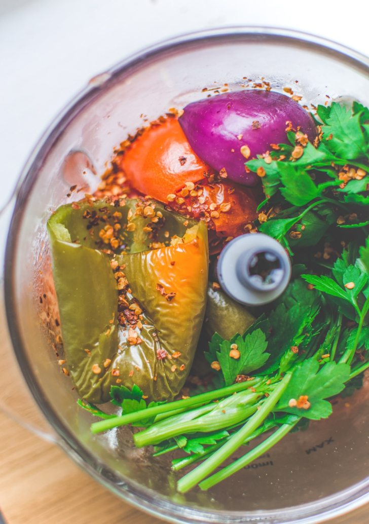 Vegetables and Parsley in a Food Processor