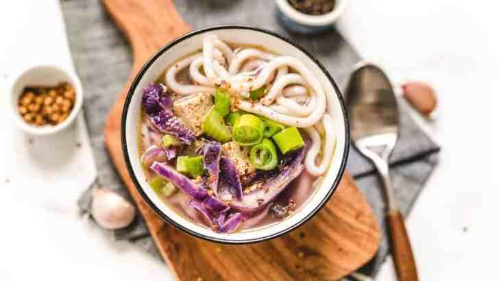 Purple Vegan Udon Noodle Soup