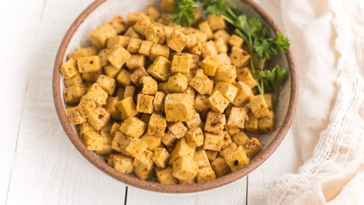 Nooch-Encrusted Air Fryer Tofu Cubes