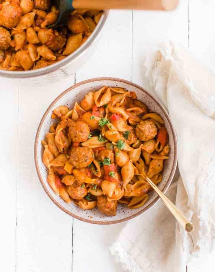Vegan Instant Pot Pasta With Marinara and Plant Based Meatballs