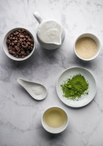 Vegan Matcha Ice Cream Recipe Ingredients Flatlay