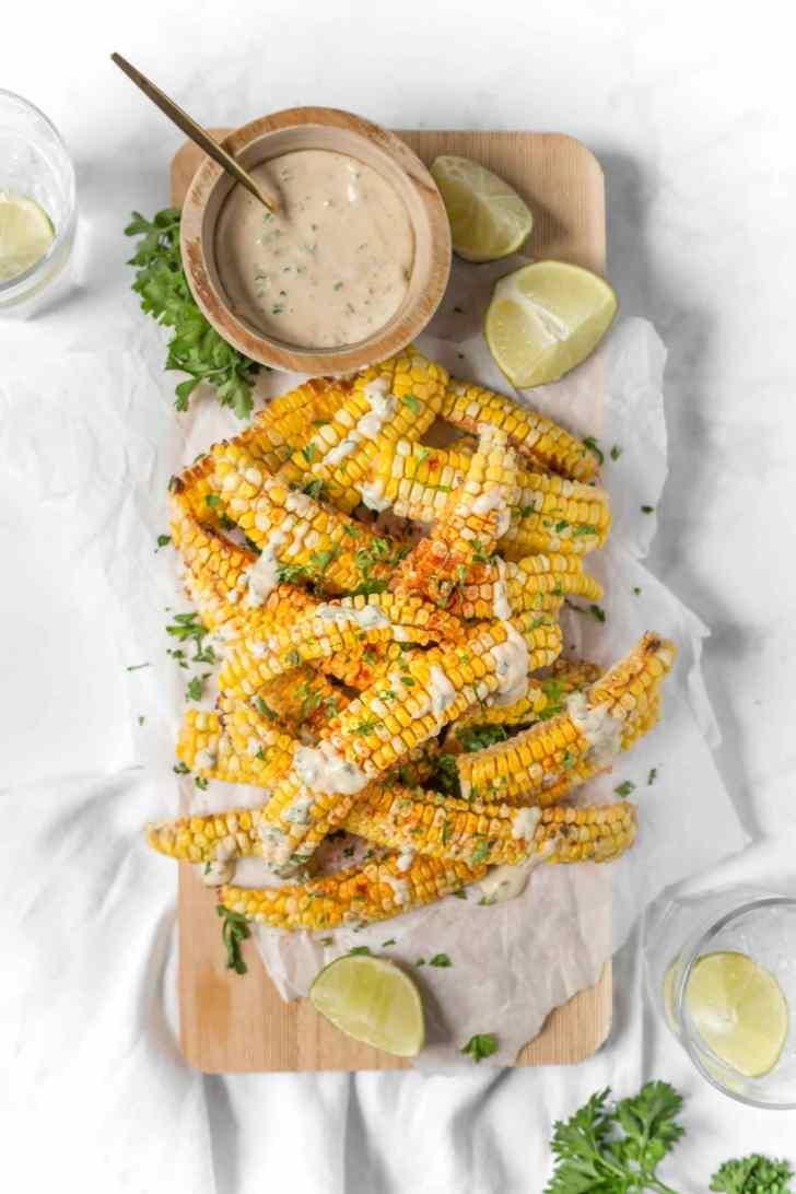 Chipotle Air Fryer Corn Ribs Vegan Food Photography