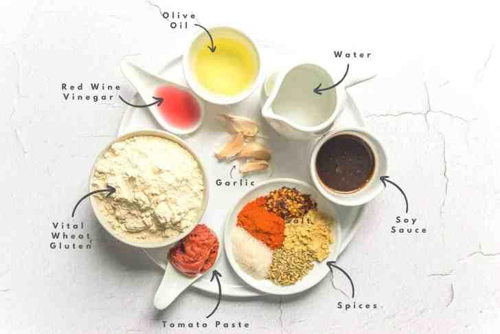 Vegan Pepperoni Recipe Ingredients Flatlay