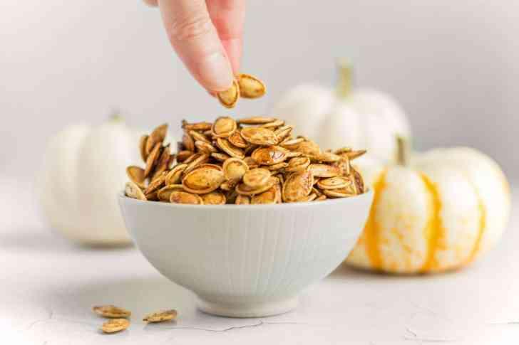 Sweet Cinnamon Sugar Roasted Pumpkin Seeds