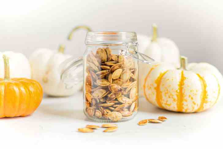 Best Roasted Pumpkin Seeds Stored in a Glass Mason Jar