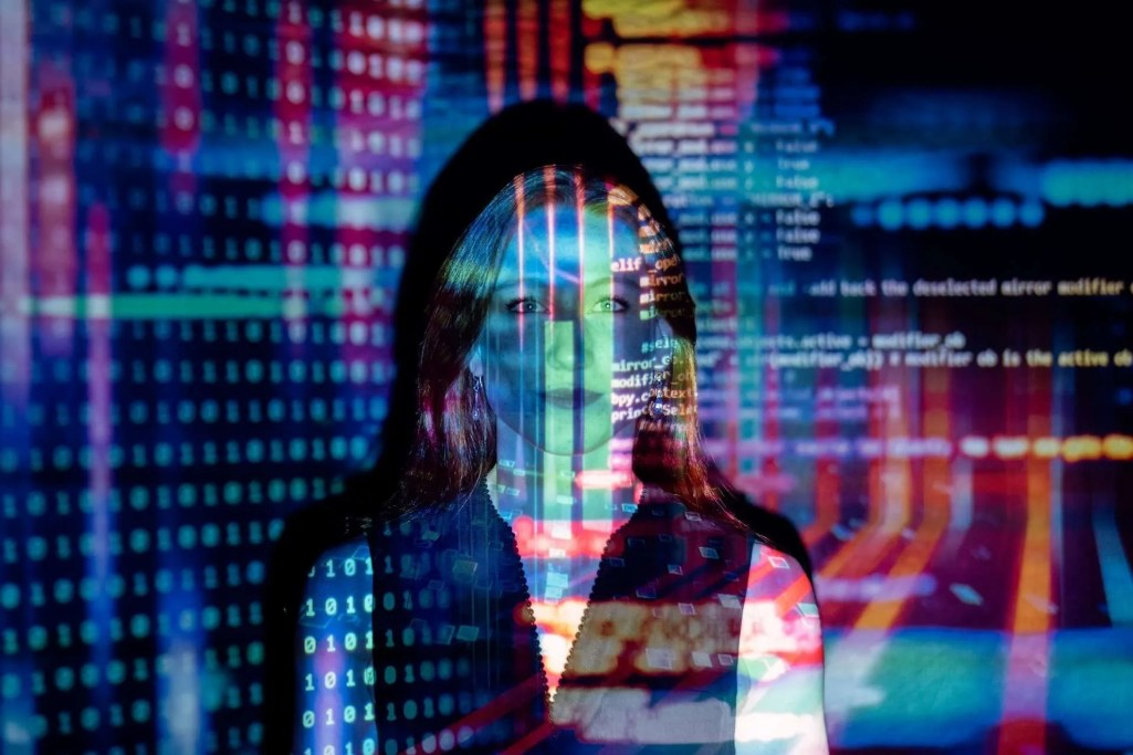 Code Projected Over a Woman