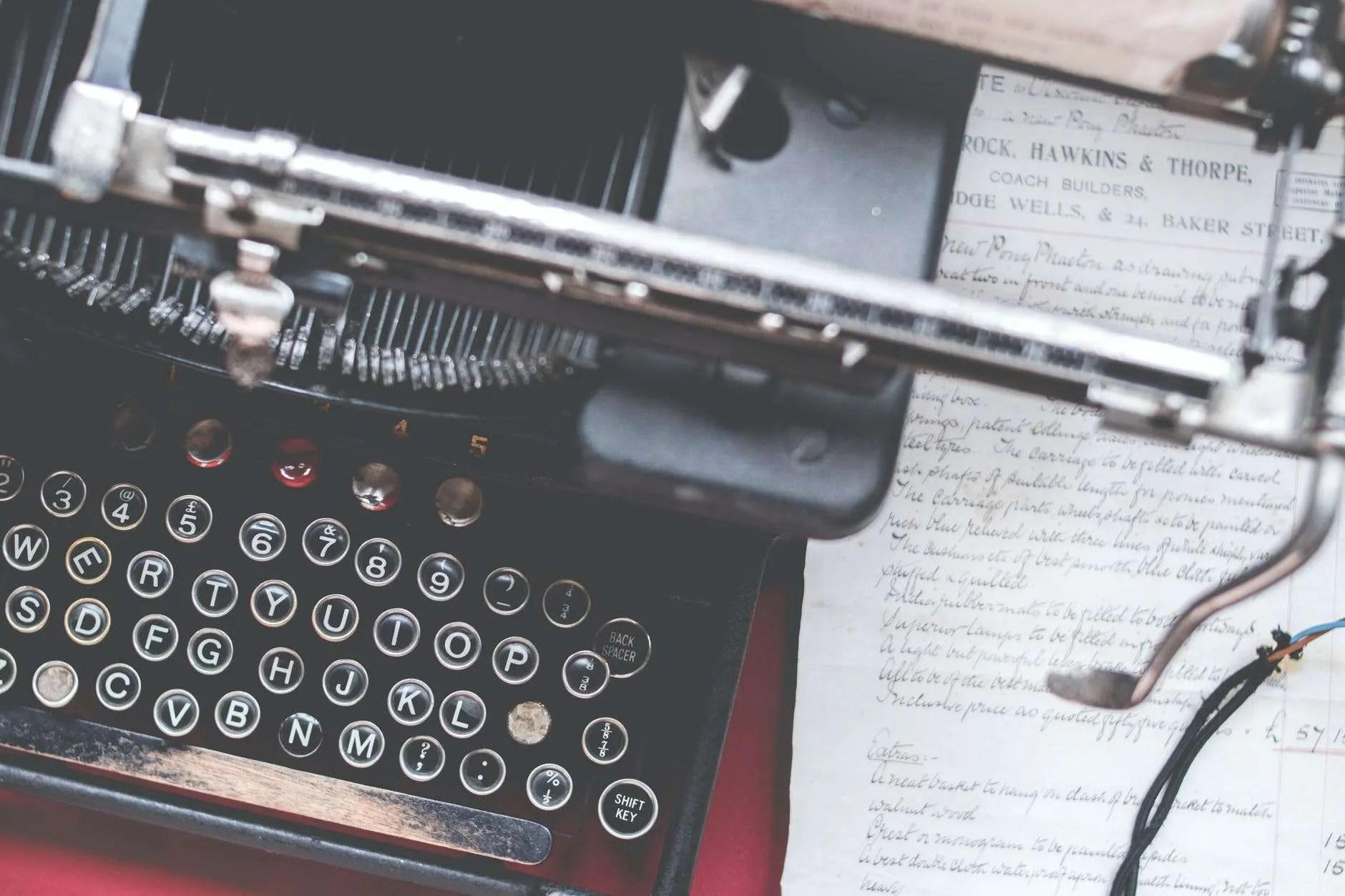 photo of black typewriter - business letterhead