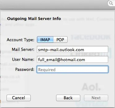 Configure apple mail email for hotmail imap - Smtp and pop3 port number ...