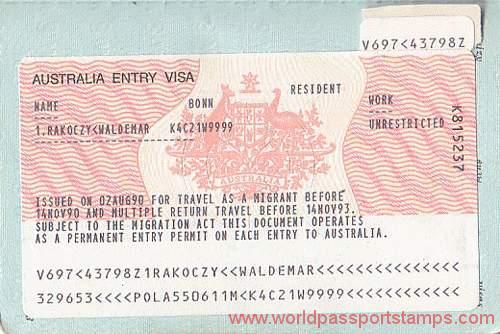Australia migration documents