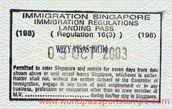 Singapore - landing pass, 2003 — World of Passport Stamps