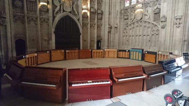 21 Pianos in a circle at King's College Cambridge
