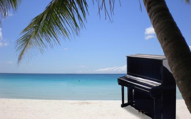 desert island piano from onshore