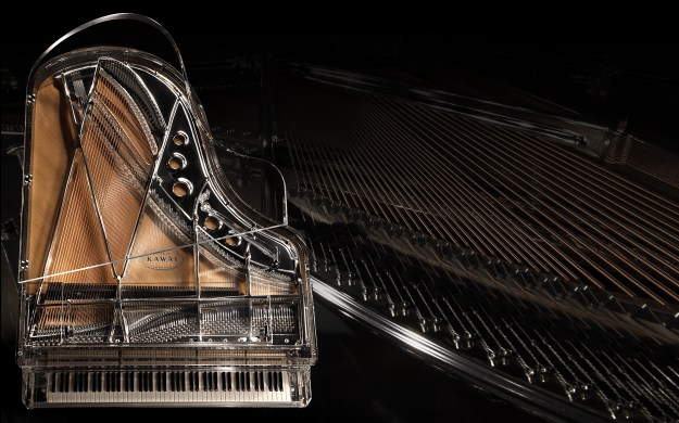 Top view of the Kawai Crystal Grand piano