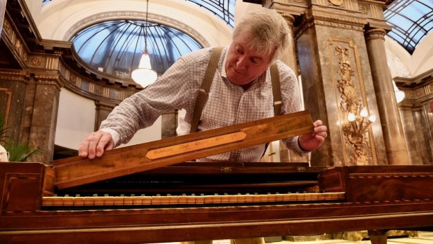 Professor Geoffrey Lancaster working on the First Fleet piano