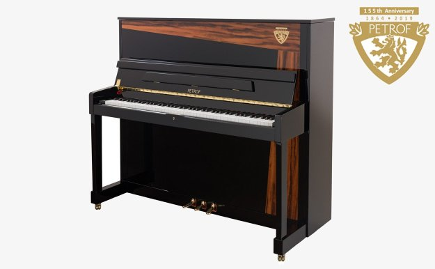 Petrof Tiger Wood Limited Edition Upright Piano and 155th Anniversary Motif