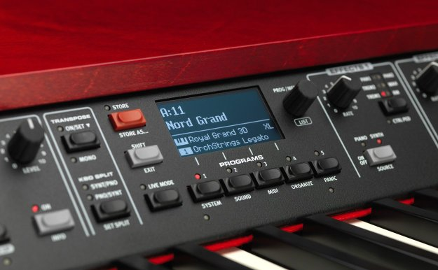 Close-up of the Nord Grand's OLED display