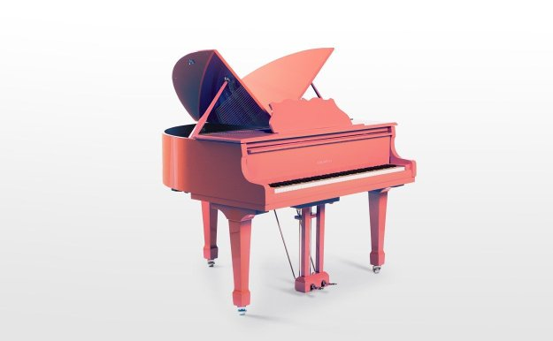 The Sygnet G50 baby grand finished in Living Coral (Pantone 16-1546).