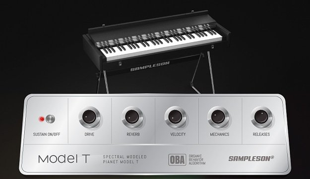 The Hohner Pianet T, with the control piano of the Model T virtual piano in the foreground