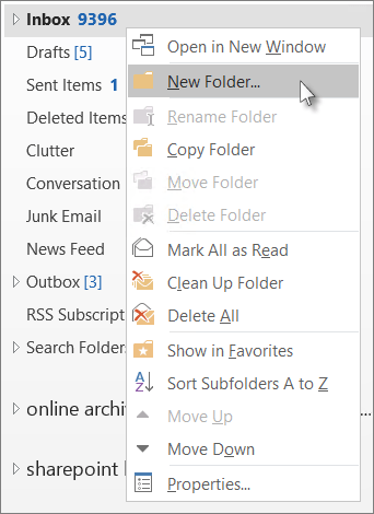 add a new folder - Organizing your emails into folders in Outlook