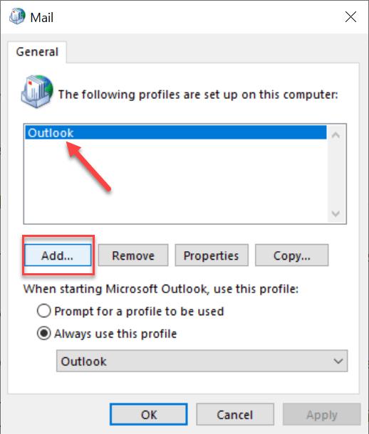 add profile - Corrupted Outlook profile