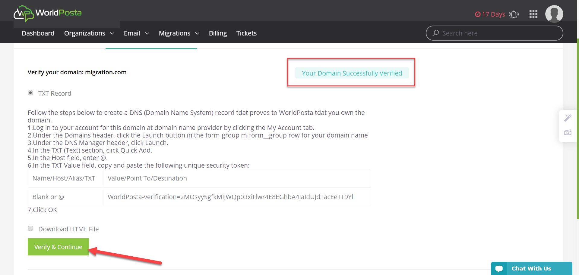 domain verification - Registration: 2) Domain Verification