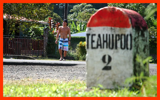 Teahupoo road sign