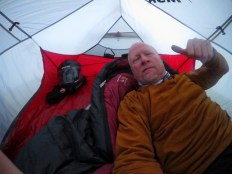 Waking up to a wet tent.
