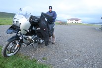 Johnny A bundles up for the cold ride.