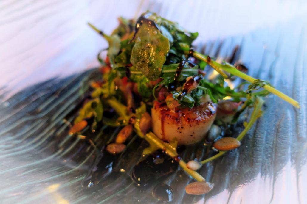 Fresh seared scallop salad