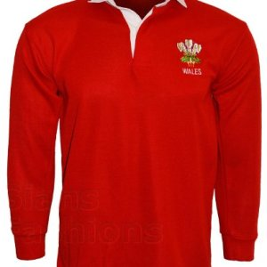 Wales Rugby Shirt Long Sleeved Walesh Sports Top With Embroidered Chest Logo
